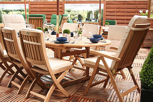 A combination of furniture and decking